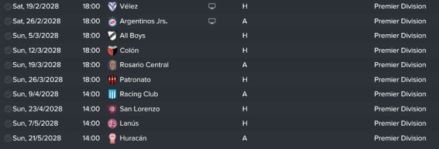last ten games