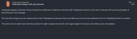 tottenham offer job interview