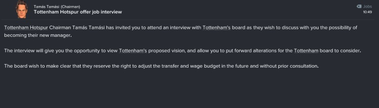 tottenham offer job interview