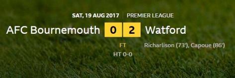 bournemouth v watford result