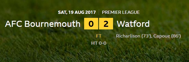 bournemouth v watford result