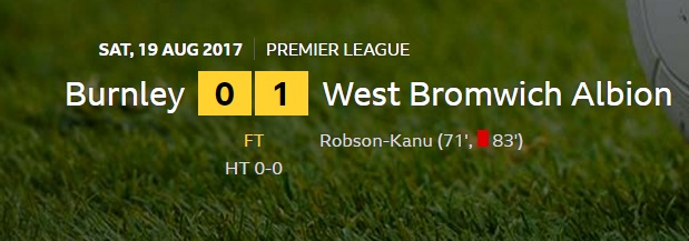 burnley v west brom result