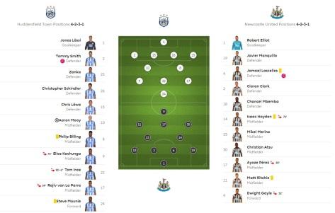 huddersfield v newcastle formations