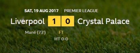 liverpool v crystal palace result