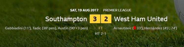 southampton v west ham result